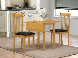 Dining Kitchen Table Set Two Drop Leaf Folding Two Chairs Natural Oak Finish