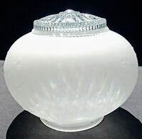 Vintage Ceiling Light Fixture Shade Round Globe Frosted & Clear Glass Vine Berry