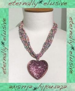 M&S Signed Large Foiled Heart Pendant Pastel Seed Bead Princess Length Necklace