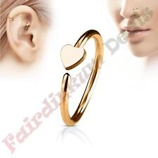 316L Surgical Steel Rose Gold Ion Plated Nose & Ear Cartilage Ring with Heart