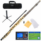 MENDINI BLACK NICKEL PLATED 17 KEY C FLUTE OPEN HOLE +TUNER, STAND MFE-30BNG