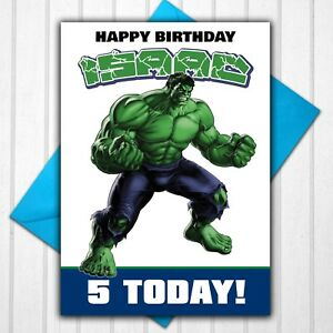 The Incredible Hulk Personalised Birthday Card Any Name Age 5th 6th 7th 8th 9th