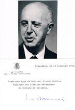 "Belgium PM Pierre Harmel 1911-2009 genuine autograph 4""x6"" card signed w. photo"