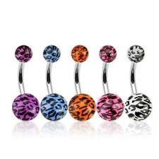 LEOPARD SKIN PRINT BELLY NAVEL RING ACRYLIC BALL BUTTON PIERCING JEWELRY B42