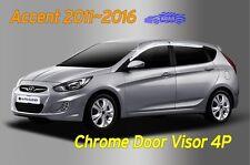 Chrome Window Visor Sun Rain Vent Silver A495 for Hyundai ACCENT 5DR 2011~2017