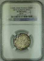 (1300-1500) France Metz Silver Gros Coin Roberts-8932 NGC XF Details Bent AKR