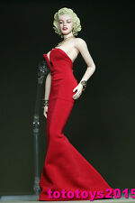 """1:6 Scale Woman Marilyn Monroe red dress for 12"""" Phicen Seamless Body Model"""