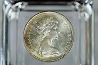 1966 Canada Silver Dollar $1 Elizabeth II  Canoe Coin    M-457