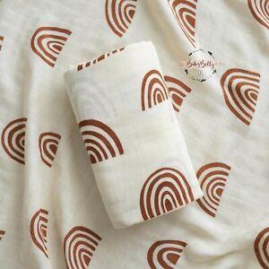 Large 120cm Super Soft Bamboo Cream Rainbow Baby Muslin Swaddle Cloth Blanket