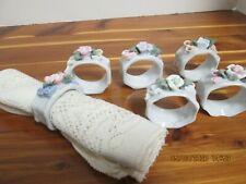 New listing Vintage Porcelain Octagonal Flower & Ribbon Napkin Rings/Holders (Set of 6)