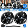 2Pc 5.75'' Motorcycle LED Headlight Projector Hi-Lo DOT For Davidson AU