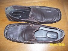 PAIR OF MENS CALVIN KLEIN MULLY NAPPA BROWN LEATHER SHOES SIZE 13 M, LOAFERS  FS
