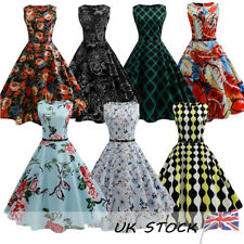 UK Womens 50s 60s Swing Plaids Housewife Pinup Rockabilly Evening Party Dress