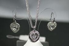GUESS Damen Schmuckset UBN21533 Kette + Ohrringe UBE21526 weiß rhodiert Herz NEU