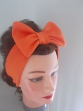 HEAD HAIR BAND ORANGE STRETCH  BOW ladies JERSEY ROCKABILLY ACTIVE