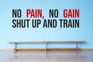 No Pain No Gain Quote Fitness Gym Motivational Quote Window Wall Decal Sticker