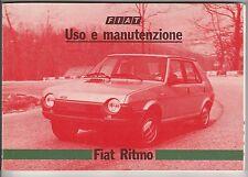 LIBRETTO USO E MANUTENZIONE - FIAT RITMO - 60CL, 60L, 65CL, 65L, 75CL e 75L