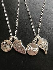 """2 BEST FRIENDS HEART CHARM 18 """" NECKLACE with Pinky Promise Charm in gift bag"""