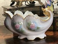 Antique Victorian Hand Painted Porcelain Candy Dish/Vase Signed By Artist
