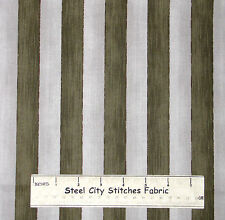 Olive Sage Green Stripe Cotton Fabric RJR True Colors Patriotic Striped YARD
