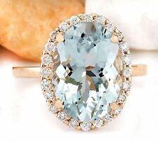 6.40 Carat Genuine Aquamarine 18K Solid Rose Gold Luxury Diamond Ring