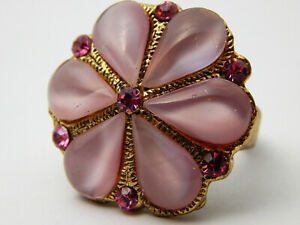 VINTAGE Moon Glow Pink Cocktail Statement Flower Ring Large & Chunky Size N 1/2