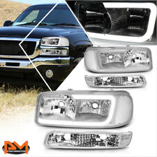 For 99-07 Gmc Sierra/Yukon Xl Led Drl Headlight w/ Bumper Lamp Chrome/Clear 4Pcs (Fits: Gmc)