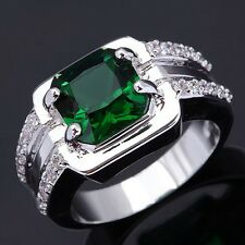 Size 11 Jewellry Bridal Emerald Princess Cut 10KT Gold Filled For Mens Rings