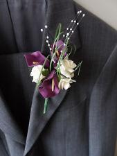 1 Ivory & Purple Foam Calla Lily & Rose Buttonholes Wedding Flowers