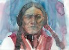 ORIGINAL NATIVE AMERICAN INDIAN THEME WATERCOLOR PAINTING SIGNED WESTERN ART