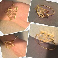 Bracelet jonc rigide Triangle Arabesque Bohème Ethnique en plaqué or Acier solde