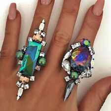 Womens Bling rhinestone Ring wedding Rings Vintage Punk Party Colorful Ring Gift