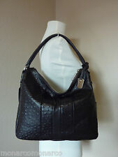 NWT Furla Espresso/Bold Coffee Ostrich Embossed Leather Soho Hobo Bag $398