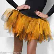 Ladies Orange Black Layered Tutu Petticoat Halloween Pumpkin Fancy Dress Skirt