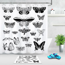 """72/79"""" Waterproof Fabric Shower Curtain Set Black and White Butterflies Pattern"""