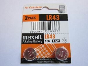 2 Pcs LR43 / 186 AG12 GP86A 1.5v Maxell Alkaline Button Cell Battery Batteries