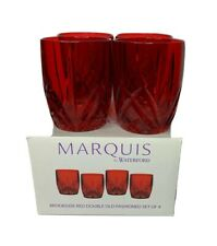 Waterford Marquis Brookside Ruby Red Set of 4 Double Old Fashioned Glasses NEW