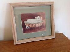 Jan Jameson 1989 Lamb Print Pull Toy Easter Basket Country Wood Sheep Heartprint