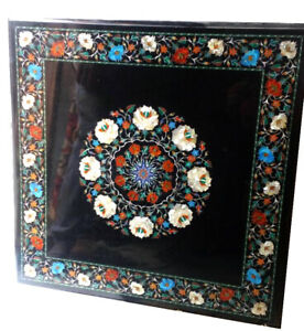 """24"""" Black Square Marble Coffee Table Top Carnelian Turquoise Floral Decors B720"""