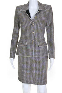 St. John Evening Womens Knit Striped Button Up Skirt Suit Black Tan Size 2