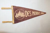 VINTAGE FELT PENNANT FLAG DES MOINES IOWA SOUVENIR