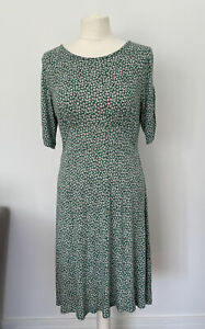 Fat Face Dress Soze 12 Green Floral Jersey Unlined
