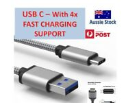 USB-C Type C Data + Charger Cable for Samsung Huawei Xiaomi Google Fast Charging