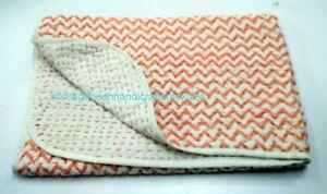Indian Baby Kantha Quilt Throw Handmade Block Print Blanket Decor Coverlet S 975
