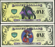 "2013  ""A""  MATCHED PAIR  Disney Dollar Cpt. Hook & Maleficent 4 Digits MINT"