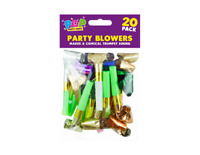 New 20x PARTY BLOWERS .Loot Bag Filler Noise Toy Assorted Foil Colours Christmas