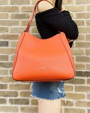 Kate Spade Leila Mediano triple compartimento Bolsón Hobo Cuero Naranja capullos de coral