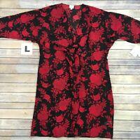 LARGE SHIRLEY LuLaRoe ~RED ROSES ON BLACK~ Kimono Cover-Up; Sizes 18-22; nwt