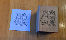 Embossing Arts Kitten Playing With Yarn Cute Cat Ribbon Kitty Rubber Stamp