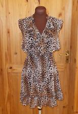 RIVER ISLAND oatmeal beige brown leopard print chiffon frill mini dress 6 32